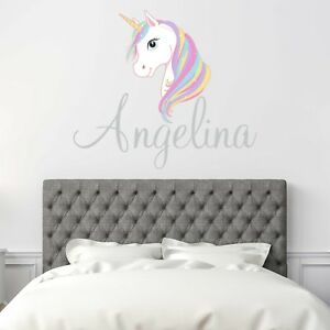 CUSTOM-NAME-VINYL-DECAL-WITH-WHITE-UNICORN-WALL-STICKER