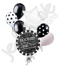 7 pc Black & White Chalkboard Grad Balloon Bouquet Party Decoration Graduation