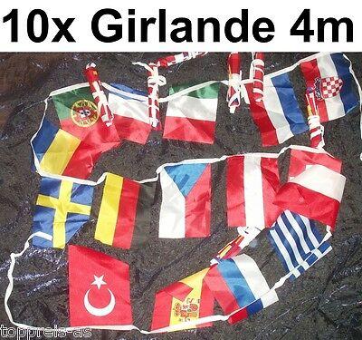 10x GIRLANDE FLAGGE KETTE FUßBALL EUROPA EM EU FAHNE FLAGGENKETTE FAHNEN 4m