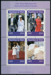 Chad-2019-CTO-Prince-Archie-Royal-Baby-Harry-amp-Meghan-4v-M-S-II-Royalty-Stamps