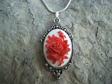 RED ROSE CAMEO PENDANT NECKLACE (ON WHITE)!! 925 PL CHAIN- QUALITY!! CHRISTMAS!!