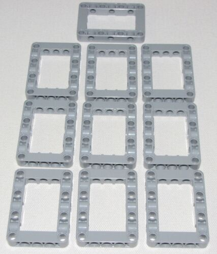 Lego Lot of 10 New Light Bluish Gray Technic Liftarms 5 x 7 Open Center Parts