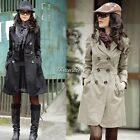 Women's Slim Fit Trench Charm Double-breasted Coat Fashion Jacket Outwear BF9