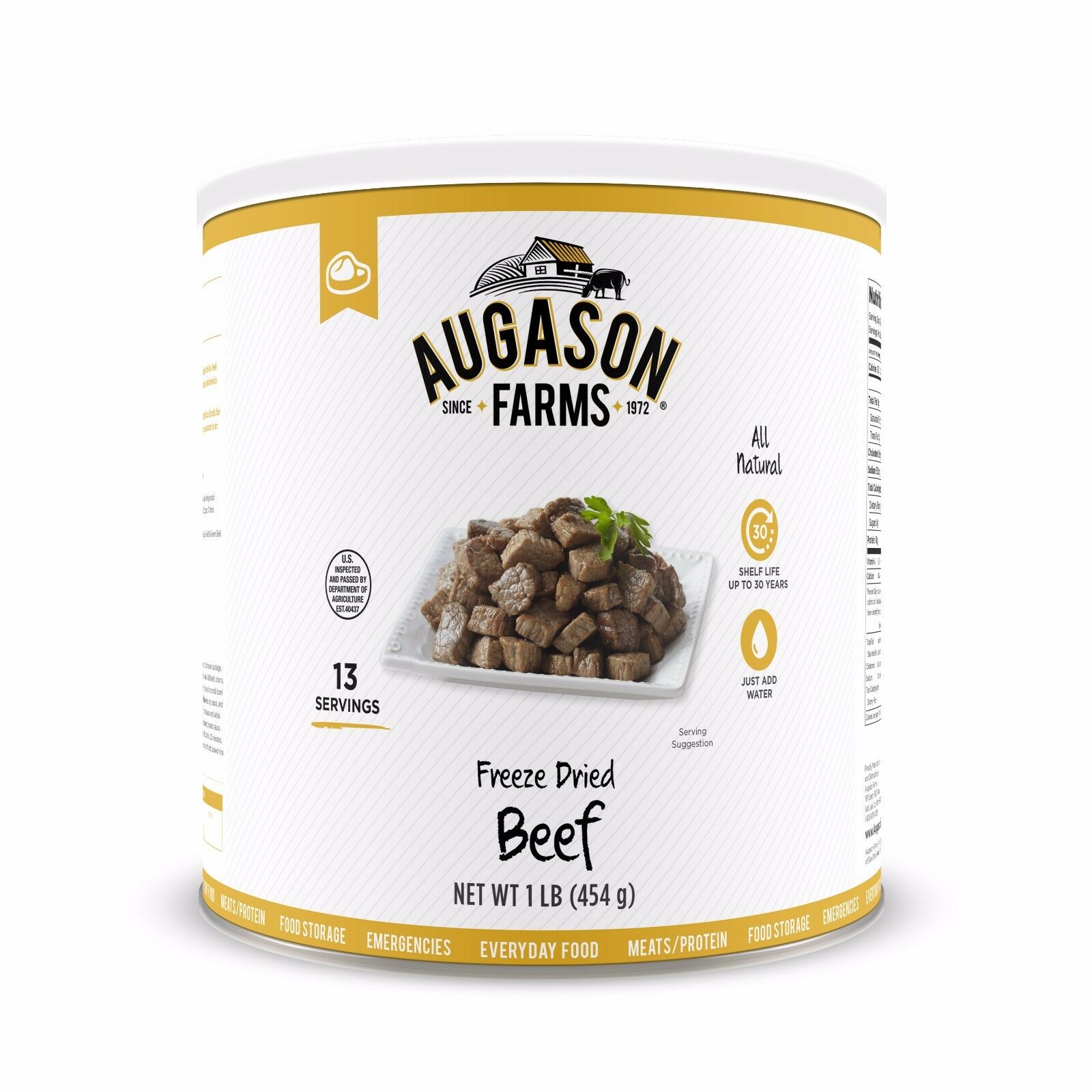 Augason Farms Freeze Dried Beef Chunks Meat Emergency Survival Camp Out RV Food