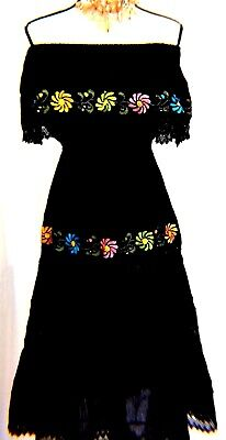 5 de Mayo Mexico Black Dress Wedding Hand loomed Embroidered Ribbons L 2X Frida