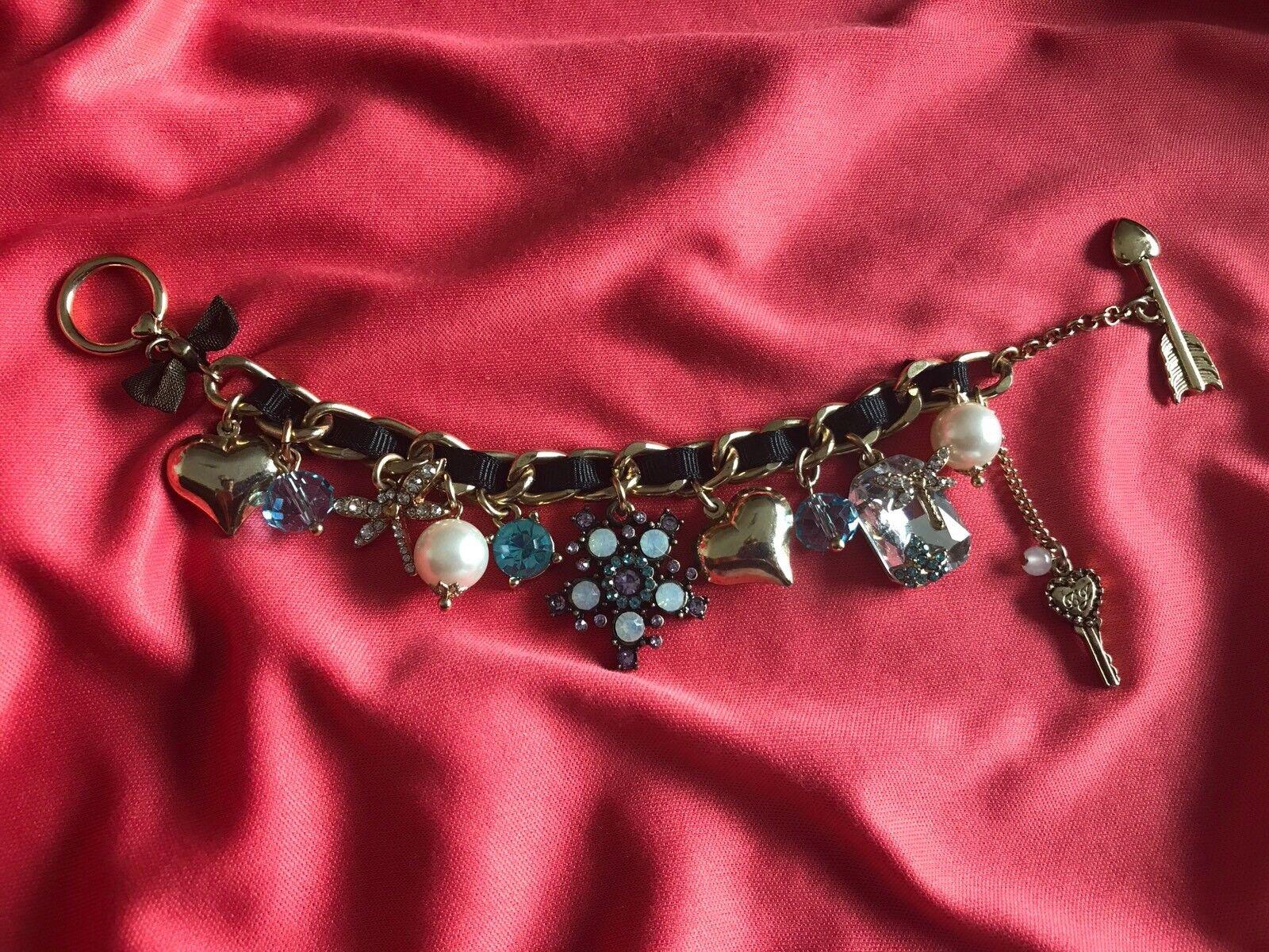Betsey Johnson Enchanted Garden Pearl Flower bluee Crystal Dragonfly Bracelet
