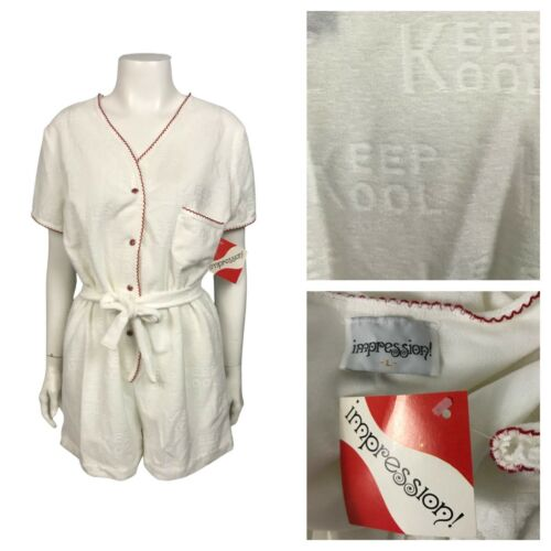 1980s Loungewear Romper / NOS White Terry Cloth Co