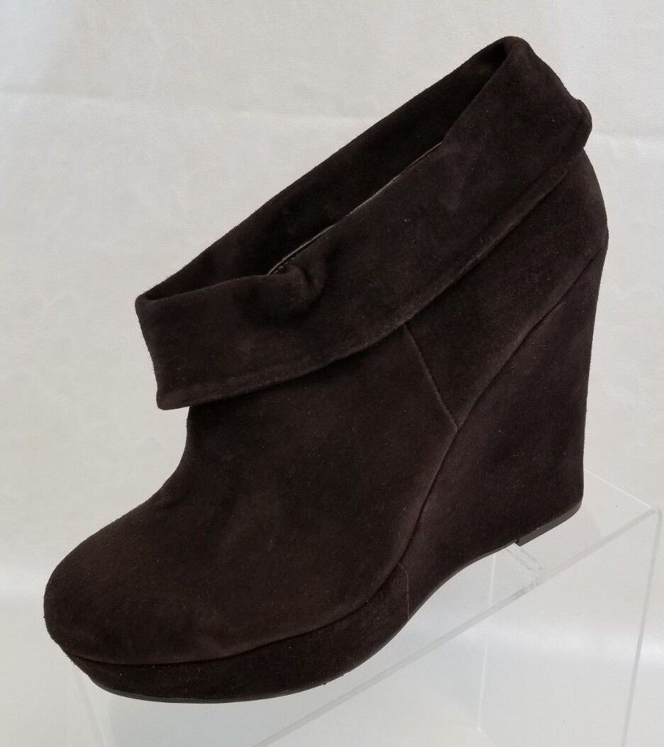 La Victoire Ankle Booties Womens Willma Wedge Platform Brown Leather Size 10