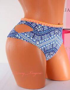 XS X-Small VS VICTORIA/'S SECRET Swim Low Cheeky Bikini Bottom Paisley Blue NWT