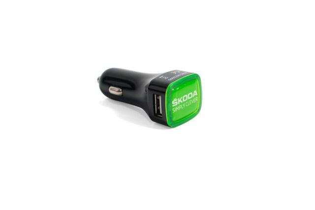 ORIGINAL SKODA coche adaptador de carga encendedor cigarrillos USB NEGRO