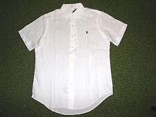 Men's $98. (XXL) POLO-RALPH LAUREN White Linen Shirt (Short Sleeve)