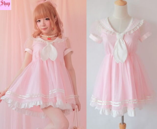 Girls Princess Dolly Lolita Kawaii Party Sweet crew neck Dress + Tie Pink S~L