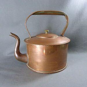 French Vintage Antique Heavy Copper Tinned Tea Pot Kettle Gooseneck Spout