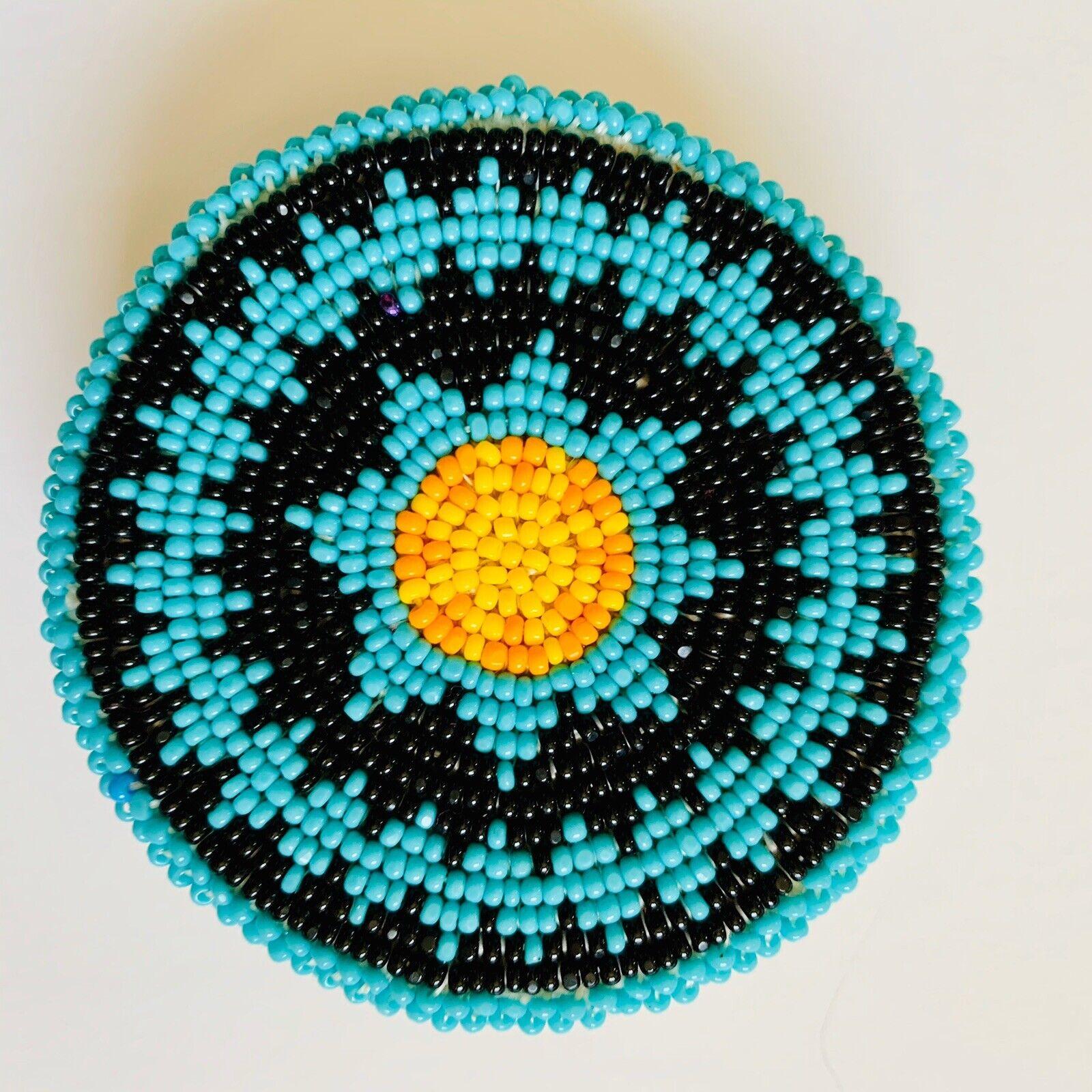 Native American Belt Buckle Shoshone Beaded Blue Black Yellow Orange Leather
