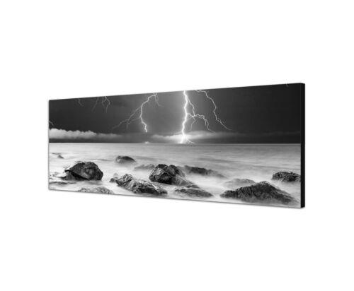Gewitter Blitze Meer Wellengang 150x50cm Panoramabild Schwarz Weiss