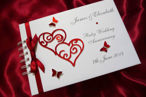A5 WEDDING ALBUM PERSONALISED 1509RBK RUBY ANNIVERSARY GUEST BOOK