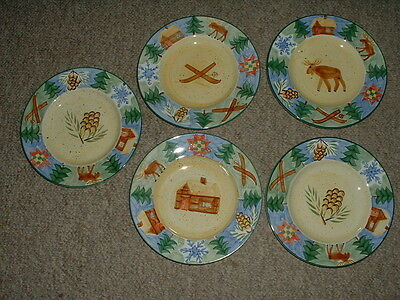 Lot (5) 8 3/4  Bella Sierra Salad Plates Pinecone/Moose & Bella Timberline Timberland Sierra Home Trends Timberline ...
