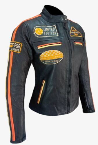 Giubbotto Moto in Pelle da donna Stechmoto ST1735 Vintage Custom /& Cafè Racer