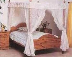 WHITE-AND-CREAM-NET-CURTAIN-FOUR-POSTER-DRAPES-AND-VALANCES-SET