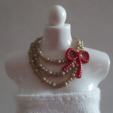 NEW Barbie Holiday Gold & Red 3 Strand Necklace ~ Christmas Doll Clothing