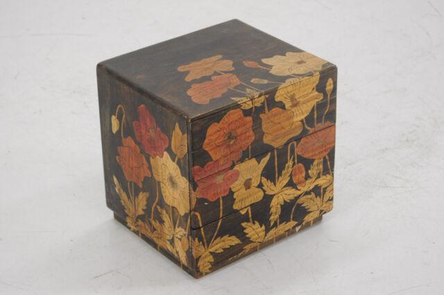 Hand Painted KOTANSU Small Wood box Flower Motif Sashimono JAPAN 342y08
