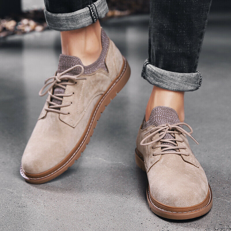 British Mens Faux Suede Round Toe Flats Cross Strap Elastic Lace Up Casual shoes