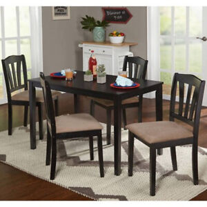 Details about Dining Room Table 4 Cushioned Chairs Set Kitchen Nook 5 Piece  Contemporary Wood