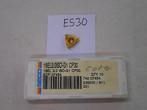 9-NEW-SECO-16-EL-3-0ISO-G1-THREADING-CARBIDE-INSERTS-GRADE-CP30-E530