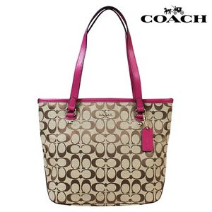 d0f22fbf7afa Coach 12cm Signature Zip Top Tote F36375 Khaki Cranberry New With ...