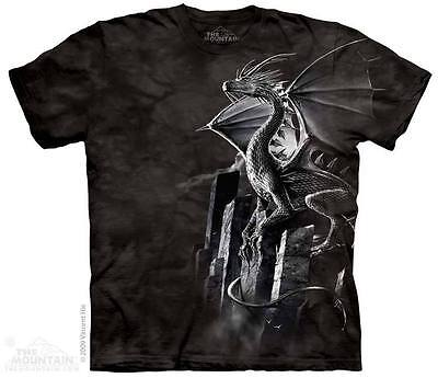THE MOUNTAIN SILVER DRAGON FANTASY MYTHICAL MYSTICAL CASTLE TEE SHIRT S-5XL