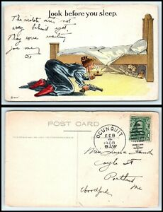 VINTAGE-Postcard-1908-Lady-with-Gun-amp-Candle-Look-Under-Bed-Finds-Man-M39