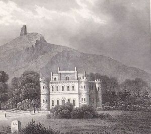 Gravure-XIXe-Chateau-d-039-Inveraray-Caisteal-Inbhir-Aora-Duc-Argyll-Campbell-Ecosse