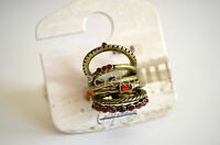 Brass Tone Red Stackable Ring Set Of 7 Pacsun With Love From Ca - Size 7, 8