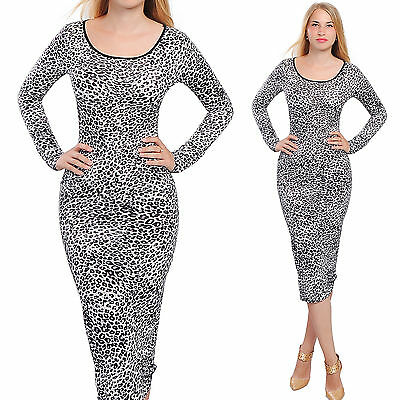 BODYCON MIDI DRESS LONG SLEEVE LEOPARD CASUAL COCKTAIL EVENING DRESSES A1783