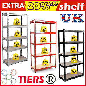 Image Is Loading 5 Tier Heavy Duty Boltless Metal Shelving Shelves
