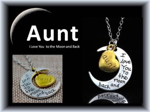 Te amo a la Luna y Trasero Tía Abuela Madre Hija Collar con Bolsa De Regalo