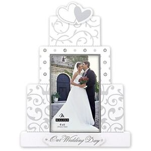 Wedding Day Picture Photo Frame Cake Silver White Love Heart Damask Floral 4x6