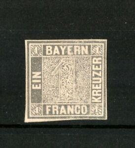 """1849 Germany Stamp Bavaria (Bayern) Mi Nr. 1 Ia Platte 1 """"Schwarzer Einser"""""""