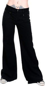 Run-amp-Fly-Ladies-Womens-Retro-60-039-s-70-039-s-Disco-New-Vintage-Wide-Leg-Flared-Jeans