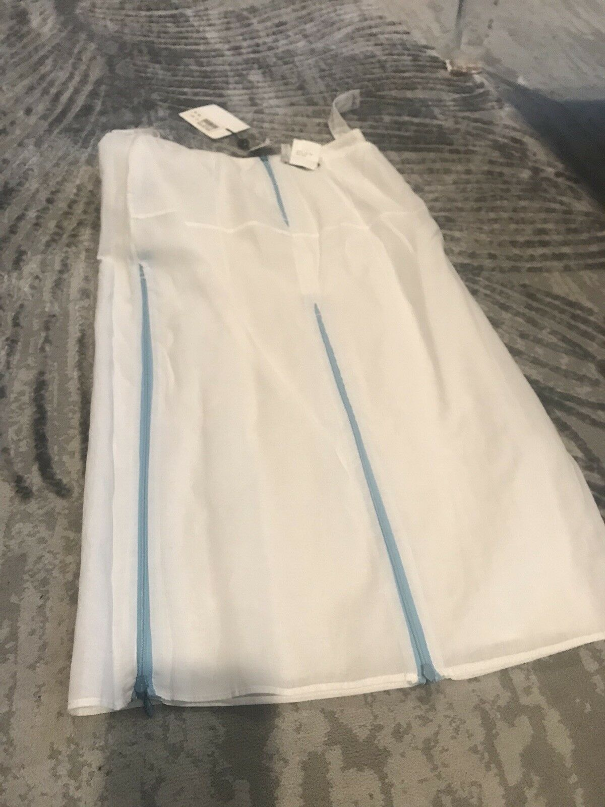 Costume National White Skirt With bluee Zippers On Inside