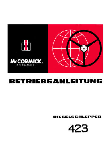 Betriebsanleitung  für  MC CORMICK INTERNATIONAL Dieselschlepper der Bauart  423