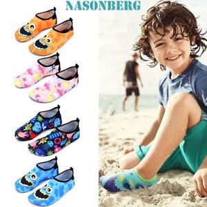 Toddler Kids Water Shoes Aqua Socks Diving Socks Pool Beach Swim Slip On Surf UK