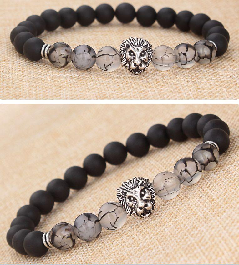 Men Women Natural Gemstone Beads Lava Rock Stone Bracelet Lion/Buddha Head Bead 5