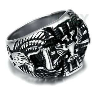 Mens-Stainless-Steel-IMPERIAL-ROMAN-EAGLE-EMPIRE-Ring-Signet-Rock-Band-Size-8-13