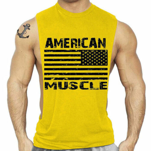 Bodybuilding Fitness Tank Top Men American Shirt Singlets Muscle Tee Cozy C0663
