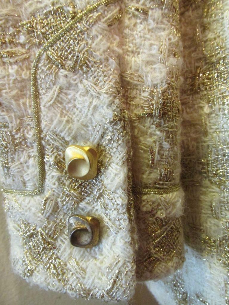 Vintage TRAVILLA Ivory & Gold Tunic Jacket 8 Beau… - image 4