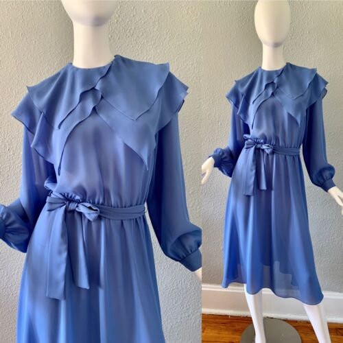Black 70s Sheer Maxi Vintage Dress  Graphic Print In Blue /& White  Toft  Made In Denmark