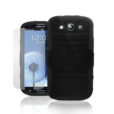 Hybrid Rugged Dual Layer Defender W Kickstand Case for Samsung Galaxy S3& S3 Neo
