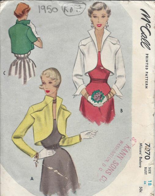1950 Vintage Sewing Pattern B36 Bolero Jacket (r897) | eBay