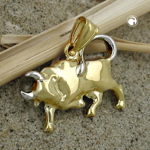 375 colgantes de oro estrella caracteres remolque 16x23mm toro bicolor 9kt oro